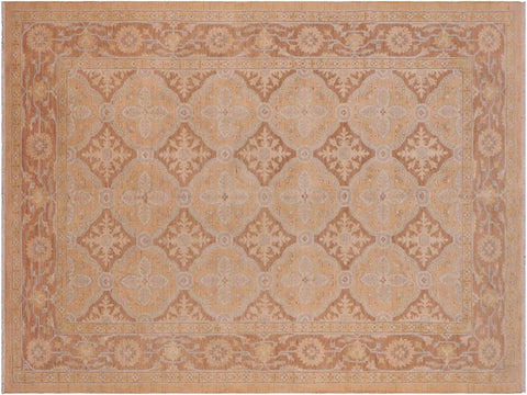 handmade Transitional Kafkaz Tan Brown Hand Knotted RECTANGLE 100% WOOL area rug 6 x 9