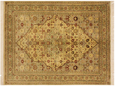"A05114, 4' 2"" X  6' 4"",Traditional                   ,4' x 6',Natural,LT. GREEN,Hand-knotted                  ,Pakistan   ,100% Wool  ,Rectangle  ,652671207556"