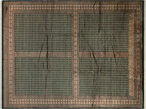 handmade Geometric Bokhara Green Tan Hand Knotted RECTANGLE 100% WOOL area rug 9 x 12