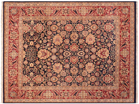 handmade Traditional Mehal Blue Red Hand Knotted RECTANGLE 100% WOOL area rug 8x10 Hand knotted indoor Pak Persian vegetable dyed area rug made for all rooms with high quality New Zealand wool in rich color pallet weaved by skilled artisans in traditional transitional design known for quality and affordable price. Oriental rug offered at cheap discount for any decor, with Persian weave(KPSI upto 300)