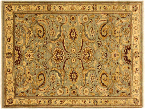 "A05241, 4' 2"" X  5'10"",Traditional                   ,4' x 6',Green,GOLD,Hand-knotted                  ,Pakistan   ,100% Wool  ,Rectangle  ,652671207570"