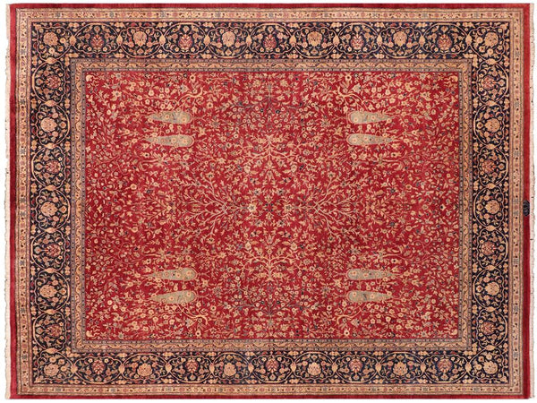 handmade Traditional Kashan Red Blue Hand Knotted RECTANGLE 100% WOOL area rug 8x10 Hand knotted indoor Pak Persian vegetable dyed area rug made for all rooms with high quality New Zealand wool in rich color pallet weaved by skilled artisans in traditional transitional design known for quality and affordable price. Oriental rug offered at cheap discount for any decor, with Persian weave(KPSI upto 300)