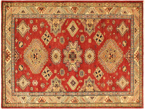 "A08020, 4' 1"" X  6' 3"",Geometric                     ,4' x 6',Red,LT. GOLD,Hand-knotted                  ,Pakistan   ,100% Wool  ,Rectangle  ,652671170331"