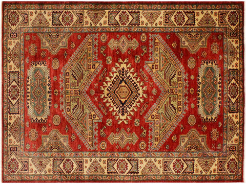 "A08047, 5' 7"" X  7' 7"",Geometric                     ,6' x 8',Red,LT. GOLD,Hand-knotted                  ,Pakistan   ,100% Wool  ,Rectangle  ,652671170577"