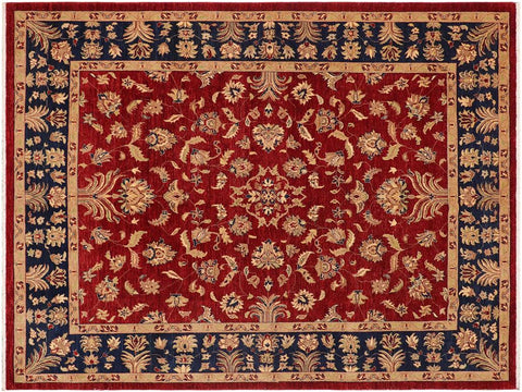 handmade Traditional Kafkaz Red Blue Hand Knotted RECTANGLE 100% WOOL area rug 9 x 12