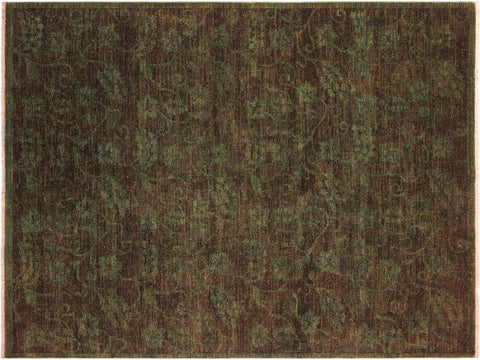 "A08136, 5'10"" X  7' 3"",Over Dyed  ,6' x 7',Green,GREEN,Hand-knotted                  ,Pakistan   ,100% Wool  ,Rectangle  ,652671171420"