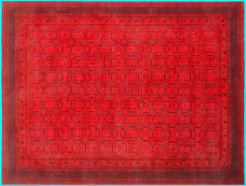 "A08152, 9' 1"" X 11' 7"",Over Dyed  ,9x12,RED,RED,Hand Knotted                  ,Pakistan   ,100% Wool  ,Rectangle"