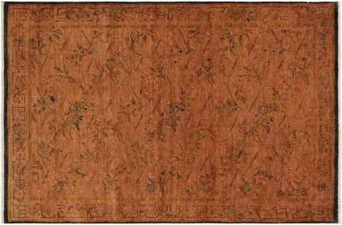 "A08173, 4' 1"" X  5' 8"",Over Dyed                     ,4' x 6',Orange,ORANGE,Hand-knotted                  ,Pakistan   ,100% Wool  ,Rectangle  ,652671171772"