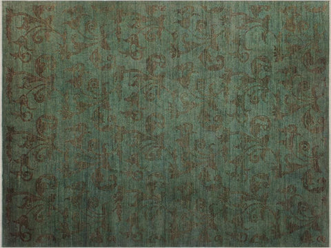 "A08191, 9' 3"" X 11'10"",Over Dyed                     ,9' x 12',Green,BROWN,Hand-knotted                  ,Pakistan   ,100% Wool  ,Rectangle  ,652671171949"