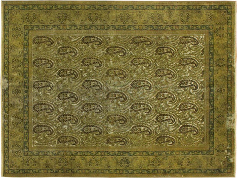 handmade Vintage Distressed Green Brown Hand Knotted RECTANGLE 100% WOOL area rug 8' x 10'
