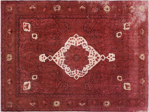 handmade Vintage Distressed Red Brown Hand Knotted RECTANGLE 100% WOOL area rug 8' x 12'