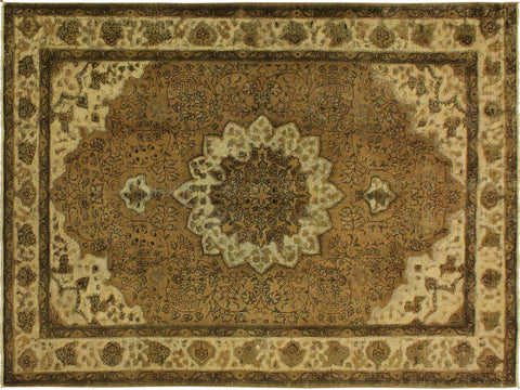 handmade Vintage Distressed Brown Beige Hand Knotted RECTANGLE 100% WOOL area rug 7' x 10'