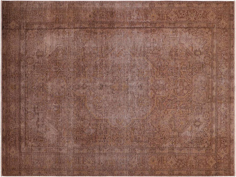 handmade Vintage Distressed Brown Gold Hand Knotted RECTANGLE 100% WOOL area rug 7' x 9'