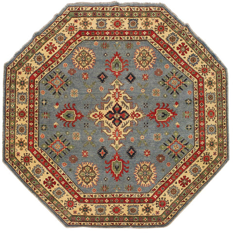 "A08252, 7'10"" X  7'11"",Geometric                     ,8' x 8',Blue,BEIGE,Hand-knotted                  ,Pakistan   ,100% Wool  ,Round      ,652671172519"