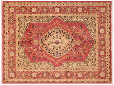 "A09043, 4'10"" X  5'11"",Traditional                   ,4' x 6',Rust,GOLD,Hand-knotted                  ,Pakistan   ,100% Wool  ,Rectangle  ,652671173776"