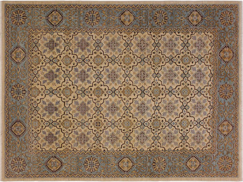 "A09044, 5'10"" X  7'10"",Transitional                  ,6' x 8',Natural,LT. BLUE,Hand-knotted                  ,Pakistan   ,100% Wool  ,Rectangle  ,652671173783"