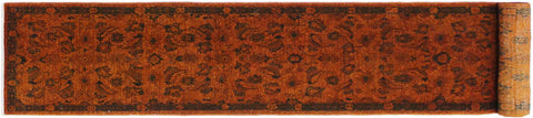 handmade Over Dyed Over Dyed Orange Green Hand Knotted RUNNER 100% WOOL area rug 3x12'