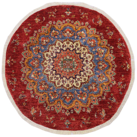handmade Geometric Kurjean Blue Red Hand Knotted ROUND 100% WOOL area rug 6x6'