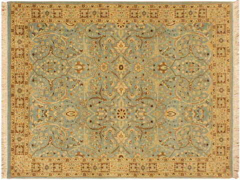 "A09073, 4' 2"" X  6' 2"",Traditional                   ,4' x 6',Blue,IVORY,Hand-knotted                  ,Pakistan   ,100% Wool  ,Rectangle  ,652671174070"