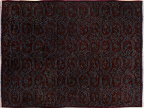 "A09076, 4' 6"" X  6'10"",Modern                        ,5' x 7',Brown,BLUE,Hand-knotted                  ,Pakistan   ,100% Wool  ,Rectangle  ,652671174100"