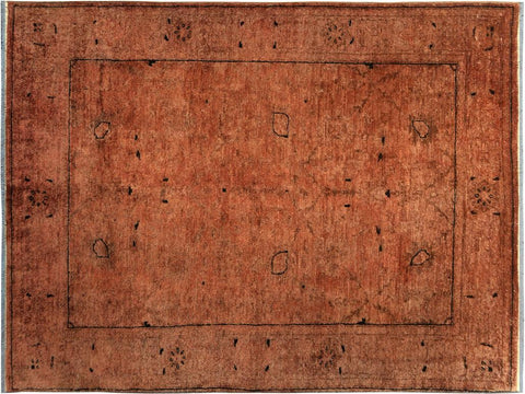 handmade Over Dyed Over Dyed Brown Dark Brown Hand Knotted RECTANGLE 100% WOOL area rug 4x6'