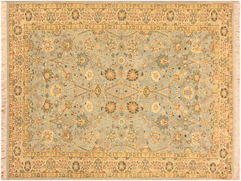 handmade Transitional Design Blue Ivory Hand Knotted RECTANGLE 100% WOOL area rug 3x5'