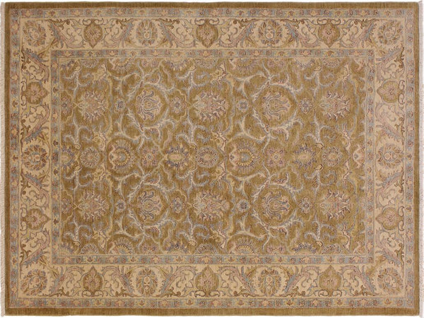 handmade Transitional Kafkaz Gold Ivory Hand Knotted RECTANGLE 100% WOOL area rug 6x8'