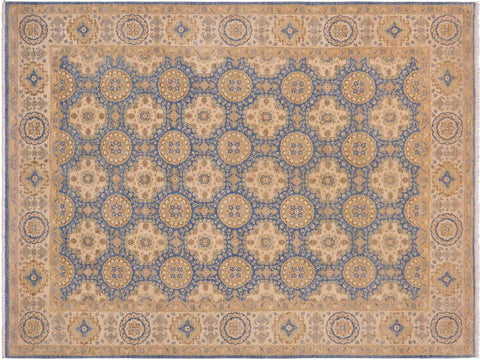 handmade Transitional Kafkaz Blue Beige Hand Knotted RECTANGLE 100% WOOL area rug 9x12'