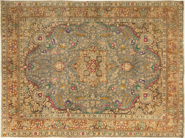 "A09119, 9' 9"" X 12'10"",Vintage                       ,10' x 13',Grey,BROWN,Hand-knotted                  ,Pakistan   ,100% Wool  ,Rectangle  ,652671174537"
