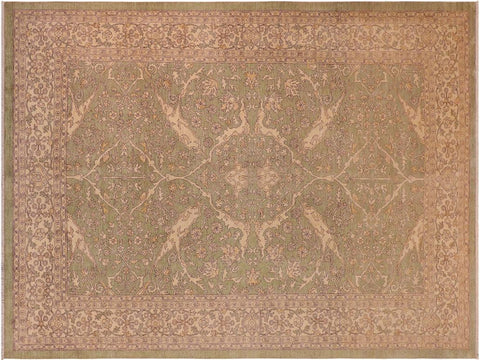 handmade Traditional Kafkaz Green Beige Hand Knotted RECTANGLE 100% WOOL area rug 10 x 13
