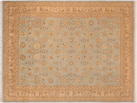 "A09126,10' 0"" X 14' 3"",Traditional                   ,10' x 14',Blue,IVORY,Hand-knotted                  ,Pakistan   ,100% Wool  ,Rectangle  ,652671174605"