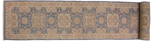 handmade Traditional Kafkaz Blue Ivory Hand Knotted RUNNER 100% WOOL area rug 3x13'
