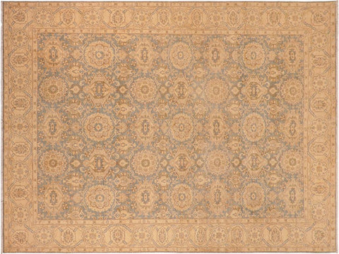 handmade Transitional Kafkaz Blue Tan Hand Knotted RECTANGLE 100% WOOL area rug 10' x 14'