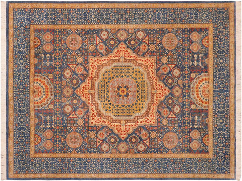 handmade Geometric Mamluk Blue Gold Hand Knotted RECTANGLE 100% WOOL area rug 8 x10 Hand knotted indoor mamluk wool area rug made for all rooms with high quality wool in rich color pallet handmade by skilled artisans in geometric, tribal design with center medallion is known for quality wool and affordable price. Oriental hand made rug offered at cheap discount for any decor one of a kind Mamluk Rug