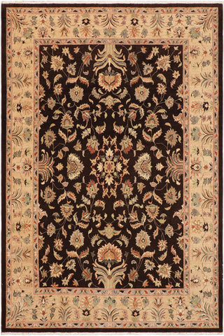 handmade Traditional Kafkaz Brown Tan Hand Knotted RECTANGLE 100% WOOL area rug 9 x 12
