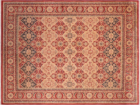 handmade Traditional Kirman Red Tan Hand Knotted RECTANGLE 100% WOOL area rug 8x10 Hand knotted indoor Pak Persian vegetable dyed area rug made for all rooms with high quality New Zealand wool in rich color pallet weaved by skilled artisans in traditional transitional design known for quality and affordable price. Oriental rug offered at cheap discount for any decor, with Persian weave(KPSI upto 300)