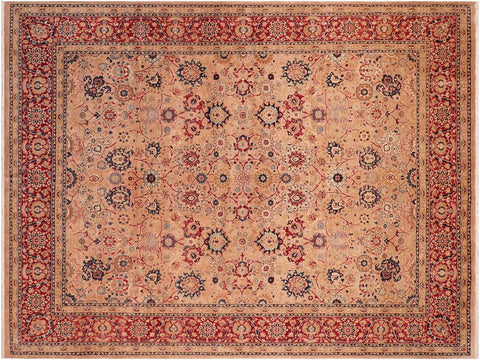 handmade Traditional Tabriz Tan Red Hand Knotted RECTANGLE 100% WOOL area rug 8x10 Hand knotted indoor Pak Persian vegetable dyed area rug made for all rooms with high quality New Zealand wool in rich color pallet weaved by skilled artisans in traditional transitional design known for quality and affordable price. Oriental rug offered at cheap discount for any decor, with Persian weave(KPSI upto 300)