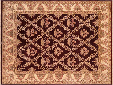 handmade Traditional Veg Dye Aubergine Beige Hand Knotted RECTANGLE 100% WOOL area rug 8x10 Hand knotted indoor Pak Persian vegetable dyed area rug made for all rooms with high quality New Zealand wool in rich color pallet weaved by skilled artisans in traditional transitional design known for quality and affordable price. Oriental rug offered at cheap discount for any decor, with Persian weave(KPSI upto 300)