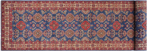 "A09344, 4' 1"" X 13' 5"",Geometric                     ,4' x 13',Blue,IVORY,Hand-knotted                  ,Pakistan   ,100% Wool  ,Runner     ,652671176784"