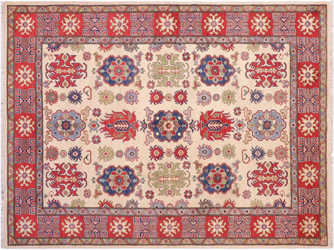 handmade Geometric Kazak Ivory Red Hand Knotted RECTANGLE 100% WOOL area rug 5 x 8