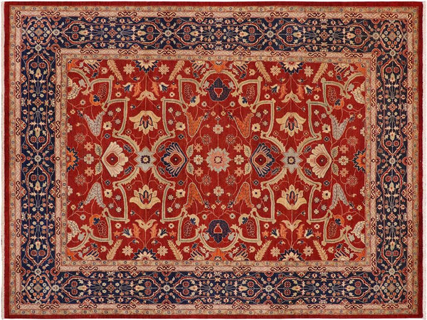 handmade Traditional Kafkaz Red Blue Hand Knotted RECTANGLE 100% WOOL area rug 9x12'