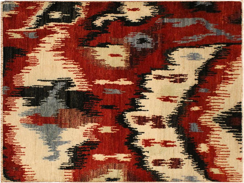 handmade Modern Ikat Red Ivory Hand Knotted RECTANGLE 100% WOOL area rug 4x6'
