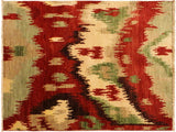 handmade Modern Ikat Red Brown Hand Knotted RECTANGLE 100% WOOL area rug 3x4'