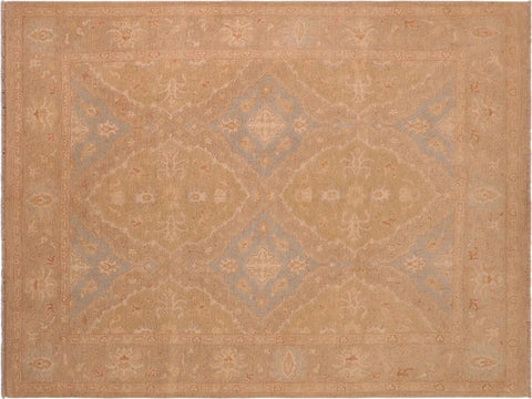 handmade Transitional Kafkaz Green Gray Hand Knotted RECTANGLE 100% WOOL area rug 8x10'
