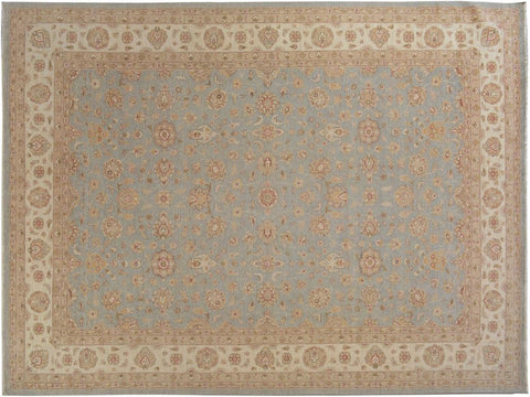"A09468, 9'10"" X 14' 1"",Traditional                   ,10' x 14',Blue,IVORY,Hand-knotted                  ,Pakistan   ,100% Wool  ,Rectangle  ,652671178023"