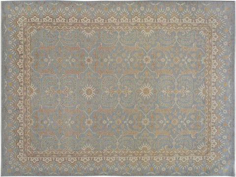 "A09472, 8' 9"" X 12' 5"",Transitiona,9' x 12',Blue,IVORY,Hand-knotted                  ,Pakistan   ,100% Wool  ,Rectangle  ,652671178061"