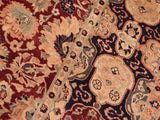 handmade Traditional Lahore Maroon Blue Hand Knotted RECTANGLE 100% WOOL area rug 8x10 Hand knotted indoor Pak Persian vegetable dyed area rug made for all rooms with high quality New Zealand wool in rich color pallet weaved by skilled artisans in traditional transitional design known for quality and affordable price. Oriental rug offered at cheap discount for any decor, with Persian weave(KPSI upto 300)