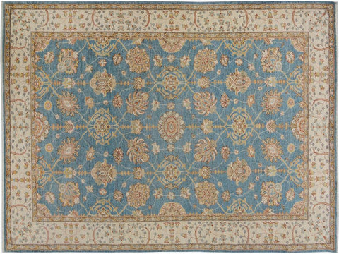 "A09481, 6' 0"" X  9' 6"",Transitiona,6' x 9',Blue,IVORY,Hand-knotted                  ,Pakistan   ,100% Wool  ,Rectangle  ,652671178153"