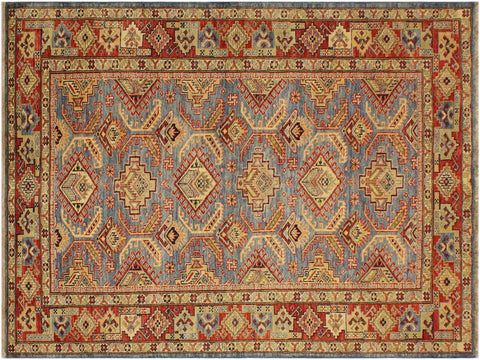 "A09506, 4' 8"" X  6' 8"",Geometric                     ,5' x 7',Blue,RUST,Hand-knotted                  ,Pakistan   ,100% Wool  ,Rectangle  ,652671178405"