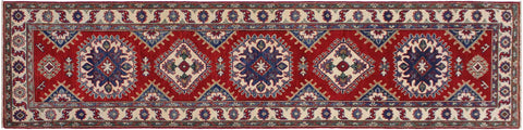 handmade Geometric Kazak Red Ivory Hand Knotted RUNNER 100% WOOL area rug 3x10'